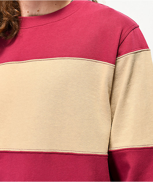 Empyre Patched Stripe Tan & Maroon Long Sleeve T-Shirt