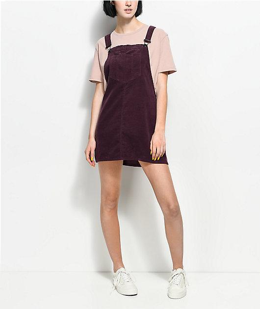 Empyre Penny Plum Corduroy Overall Dress