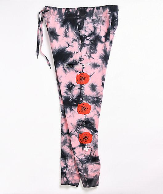 Empyre Peony Hazy Pink & Black Tie Dye Jogger Sweatpants