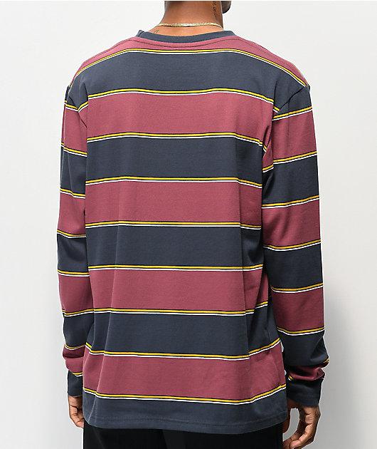 Empyre Primo camiseta de manga larga azul marino y granate de rayas