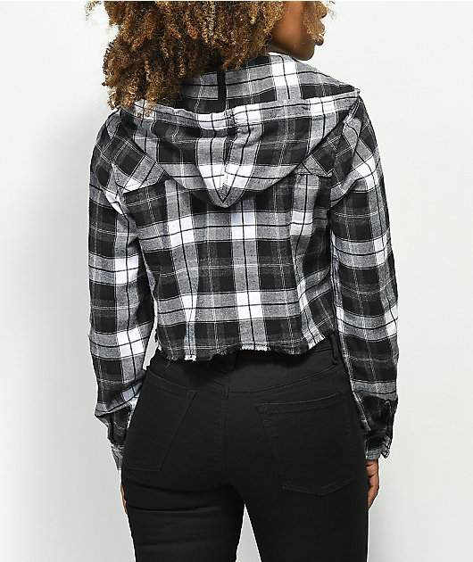 Empyre Raime Black & White Crop Hooded Flannel Shirt