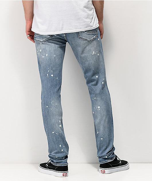Empyre Recoil Harrison Blue Splatter Super Skinny Jeans