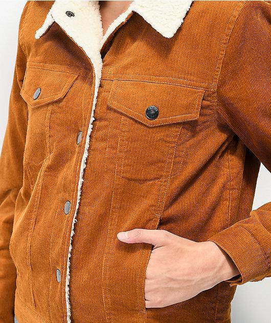 Empyre Rema Corduroy & Sherpa Lined Khaki Jacket