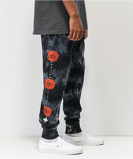 Empyre Rose Hazy Black Tie Dye Jogger Sweatpants