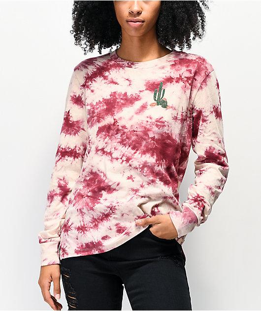 Empyre Rubino Cactus camiseta tie dye de manga larga borgoña