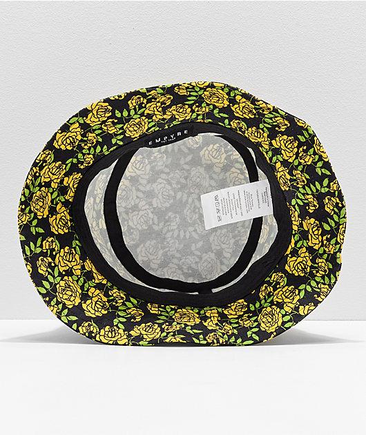Empyre Secret Garden Yellow & Black Floral Bucket Hat
