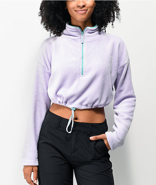 Empyre Sequoia Purple Crop Half Zip Fleece Sweatshirt