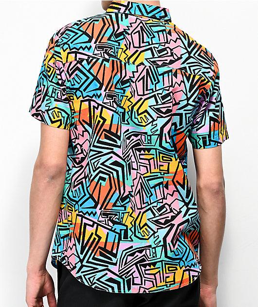 Empyre Shaped Geo Block Short Sleeve Button Up Shirt