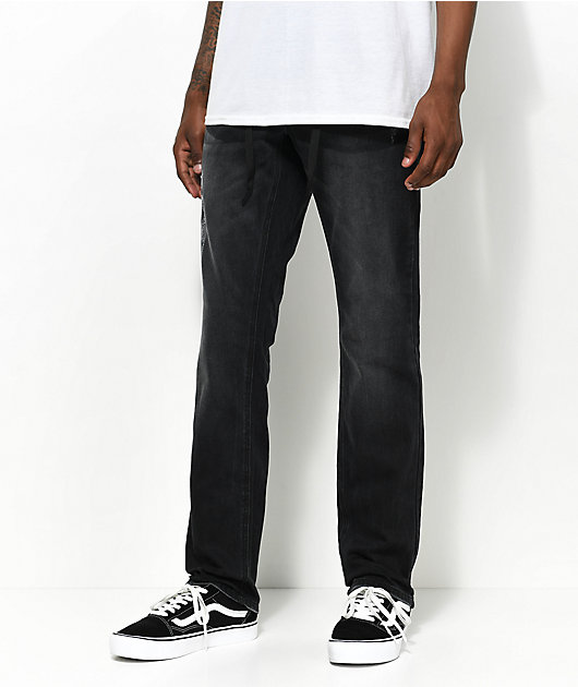 Empyre Skeletor Abyss Black Wash Skinny Jeans