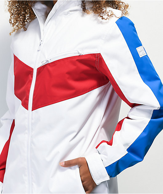 Empyre Stacey 10K chaqueta de snowboard roja, blanca y azul