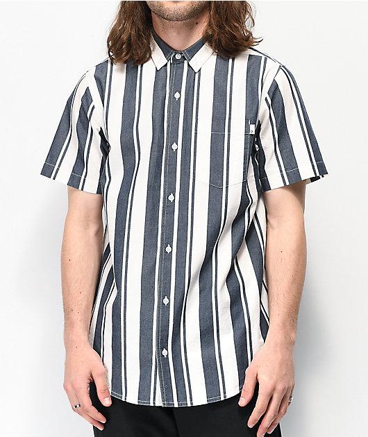Empyre Steven White & Blue Stripe Short Sleeve Button Up Shirt