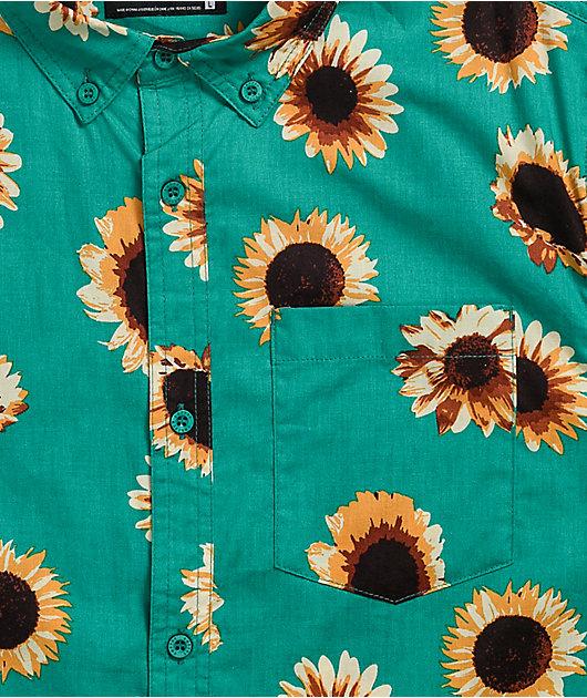 Empyre Sunflower Green Short Sleeve Button Up Shirt