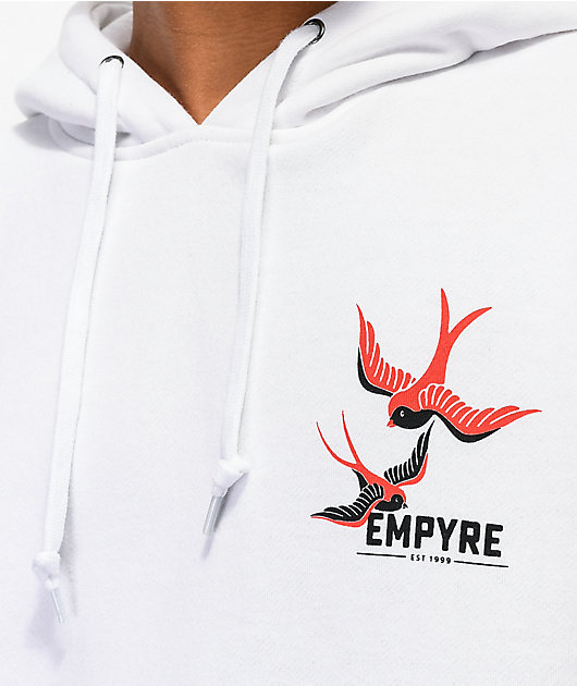 Empyre Swallows & Roses White Hoodie