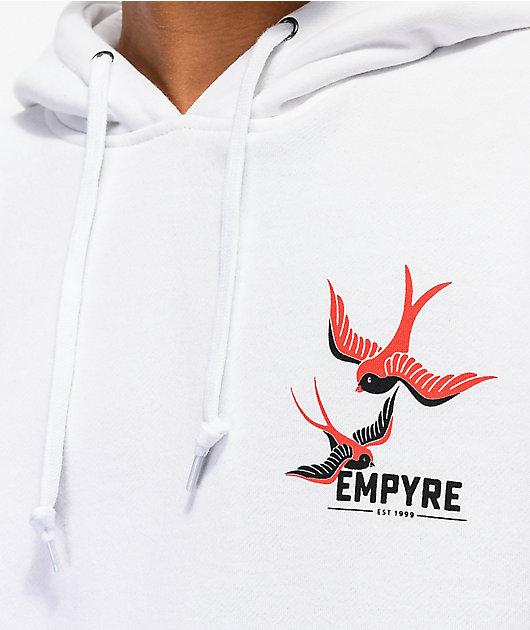 Empyre Swallows & Roses sudadera con capucha blanca