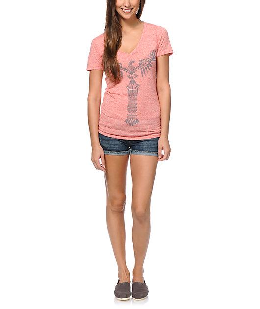 Empyre Totem Heather Coral V-Neck T-Shirt