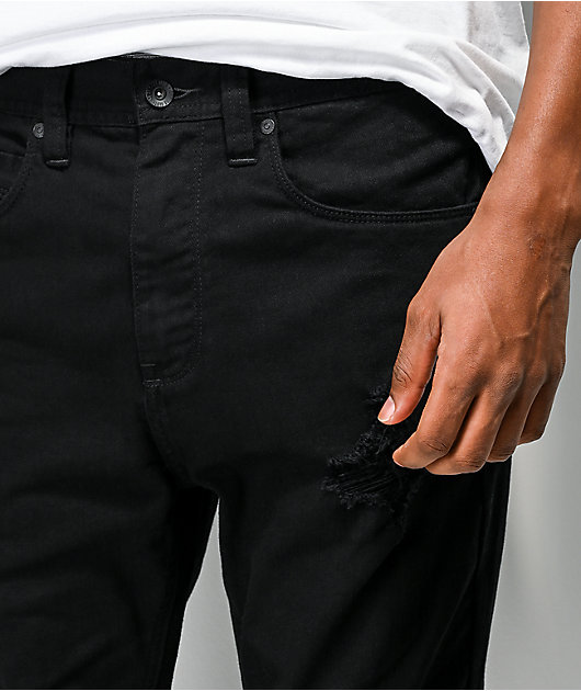 Empyre Verge Destroyed Black Tapered Skinny Jeans