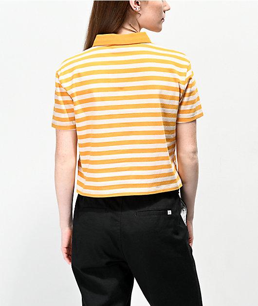 Empyre Wilanne Yellow & White Striped Crop Polo Shirt