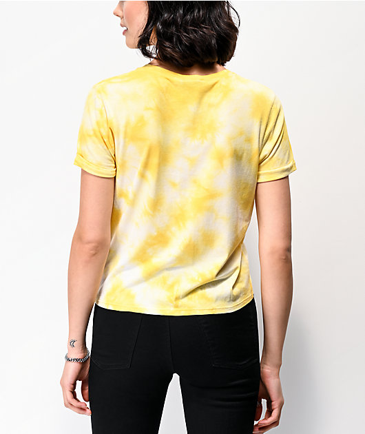 Empyre Yohanna Skeleton Rose Yellow Tie Dye T-Shirt
