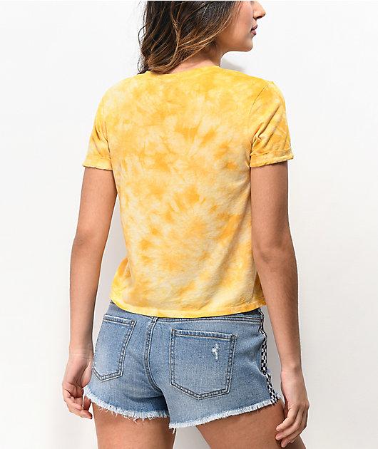 Empyre Yohanna Skull Gold Tie Dye Crop T-Shirt