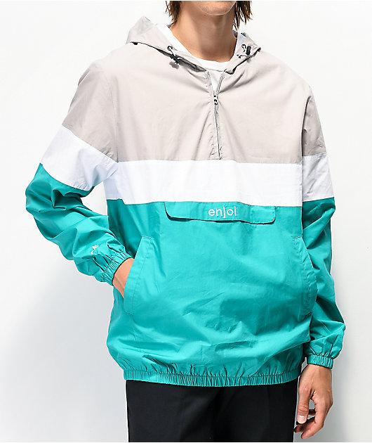 Enjoi Handout Grey & Teal Anorak Jacket