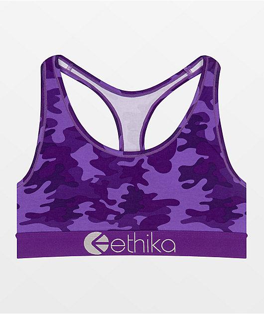 Ethika Punch Camo Purple Sports Bra