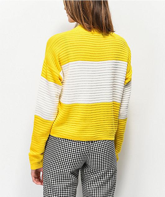 Ethos Yellow Block Mock Neck Sweater