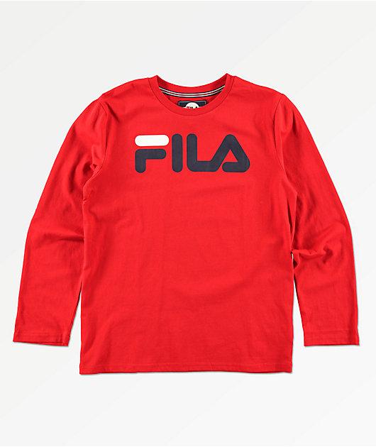 FILA Boys Classic Logo Red Long Sleeve T-Shirt