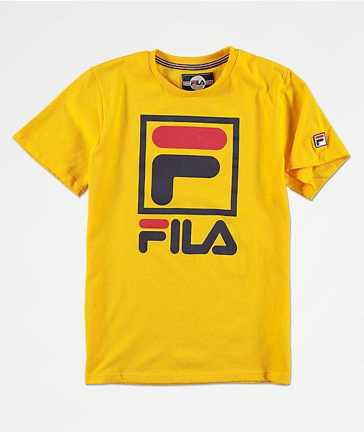 FILA Boys Stacked Logo Yellow T-Shirt