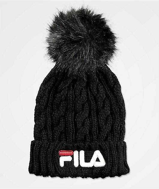 FILA Cable Knit Black & White Pom Beanie