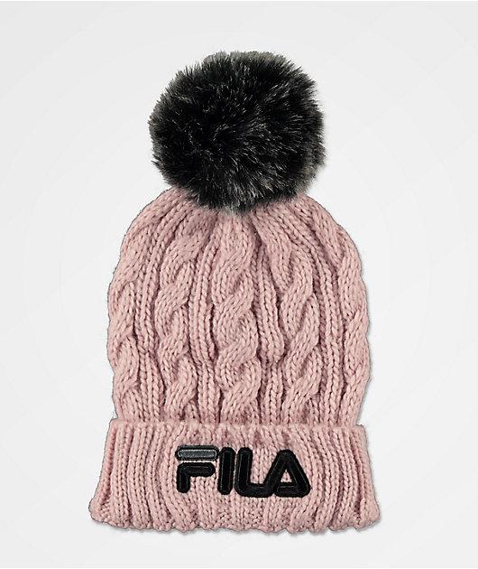 FILA Cable Knit Pink Pom Beanie