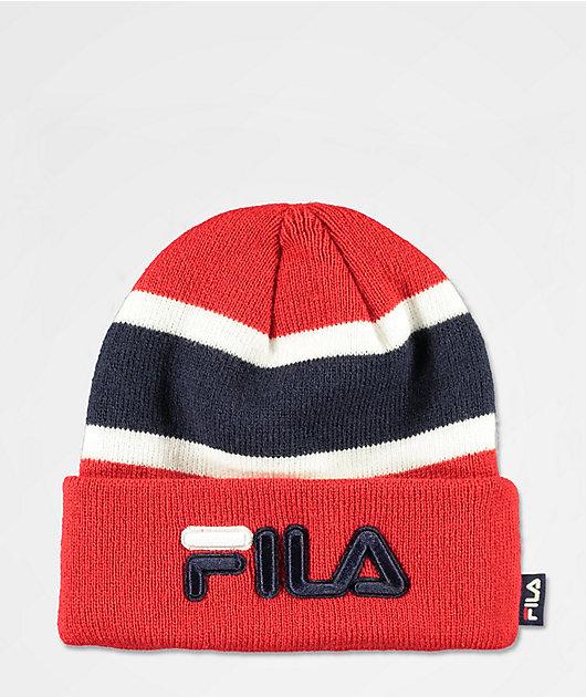 FILA Colorblock Red Foldover Beanie