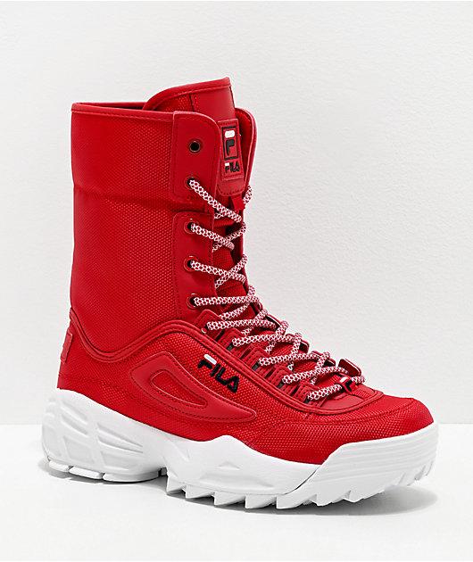 FILA Disruptor Ballistic Red Boots   Zumiez