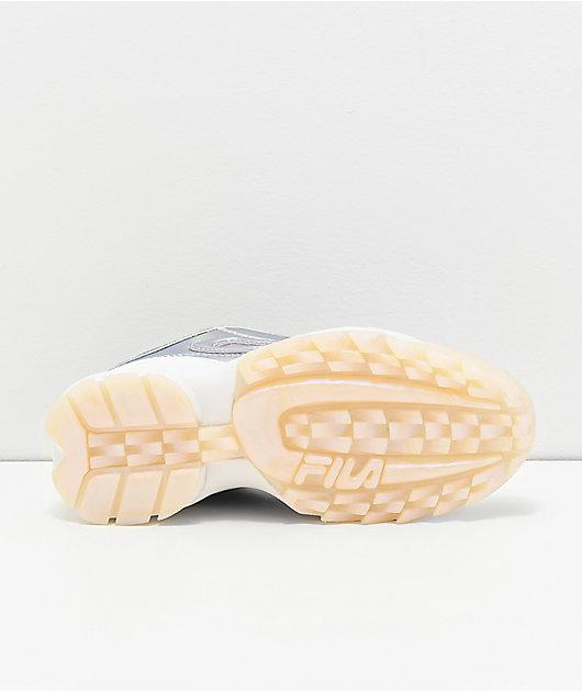 FILA Disruptor II Iridescent Silver & White Shoes