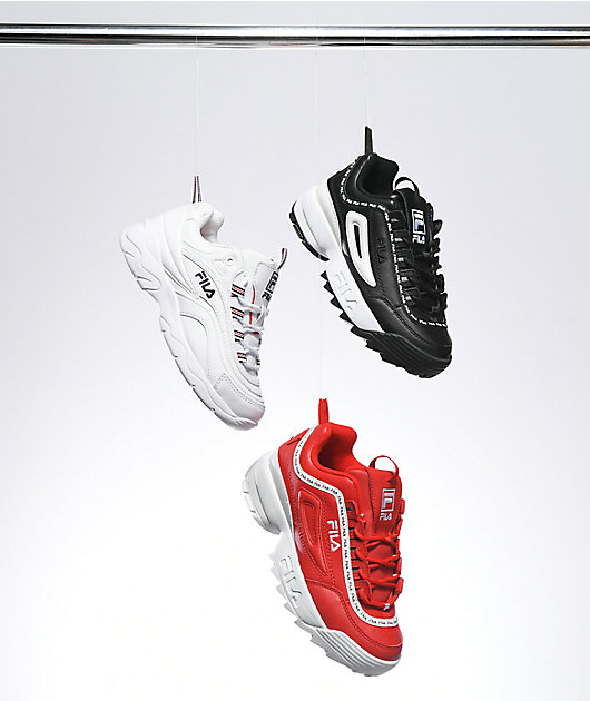 FILA Disruptor II Logo Taping Red Shoes
