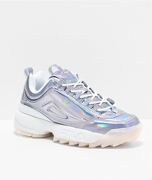 FILA Disruptor II zapatos Iridiscentes plateados y blancos