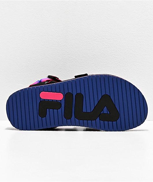 FILA Drifter Mountain Black, Pink & Purple Sandals