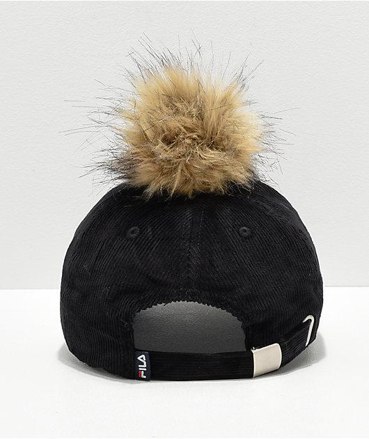 FILA Heritage Black Corduroy Pom Hat