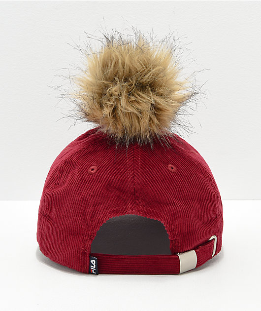 FILA Heritage Red Corduroy Pom Hat