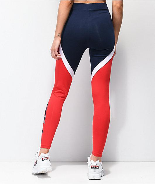 FILA Ivanna High Waist Navy & Red Leggings