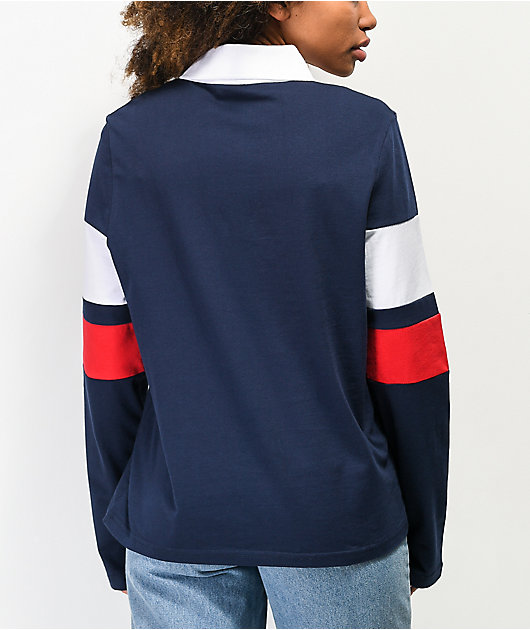 FILA Jacqueline Navy Long Sleeve Polo Shirt