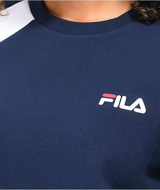 FILA Kazuno sudadera con cuello redondo azul marino, blanco y rojo