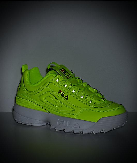FILA Men's Disruptor II Neon Safety Yellow & White Shoes