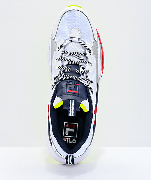 FILA Men's Ray Tracer White, Navy & Yellow Shoes