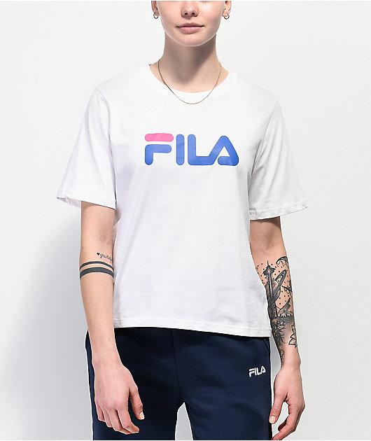 FILA Miss Eagle White, Pink & Blue T-Shirt