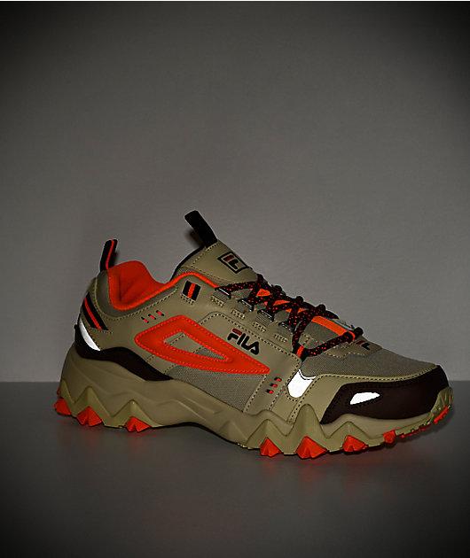 FILA Oakmont Trail Cream & Shock Orange Shoes