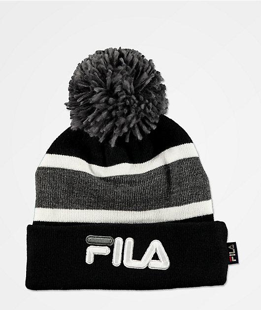 FILA Peacoat Grey & Black Striped Pom Beanie