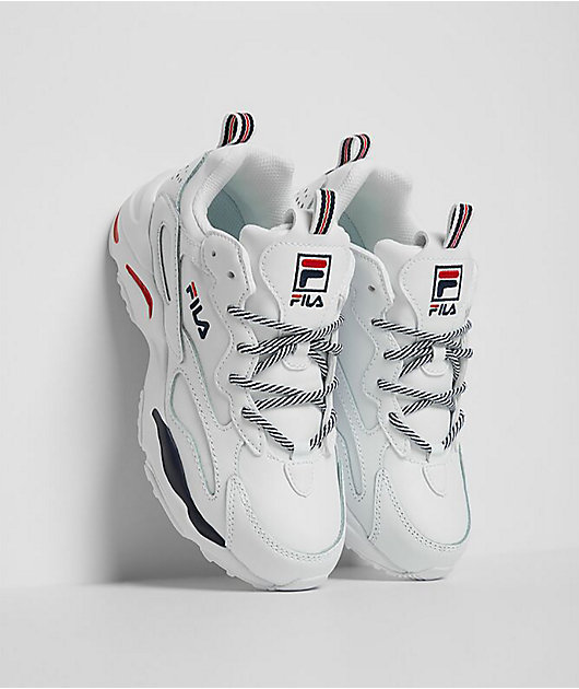 FILA Ray Tracer White, Navy & Red Shoes
