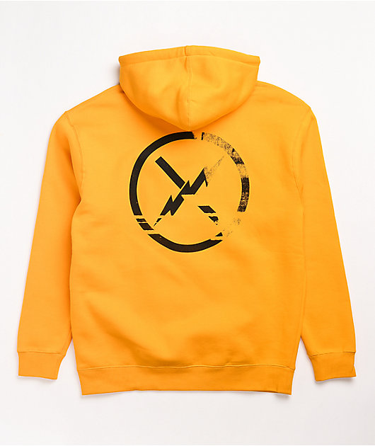 Fact Faded Type Yellow Hoodie
