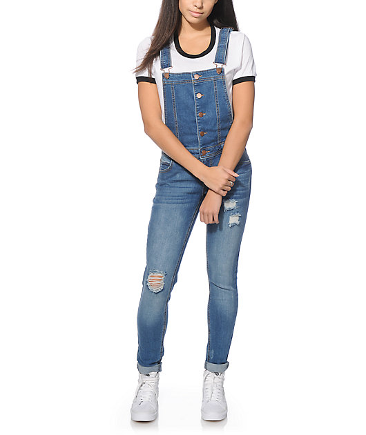Fire Los Angeles Pam Button Front Medium Wash Overalls