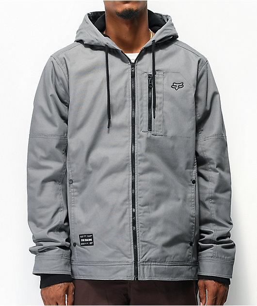 Fox Mercer chaqueta gris claro con cremallera